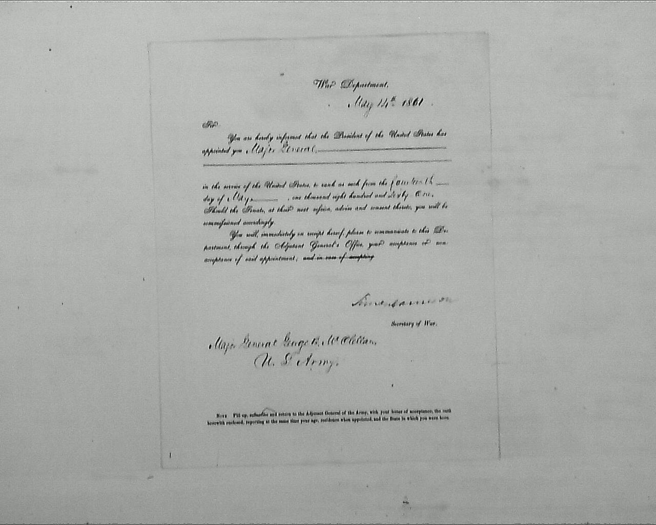 McClellanApptasMajGen1861